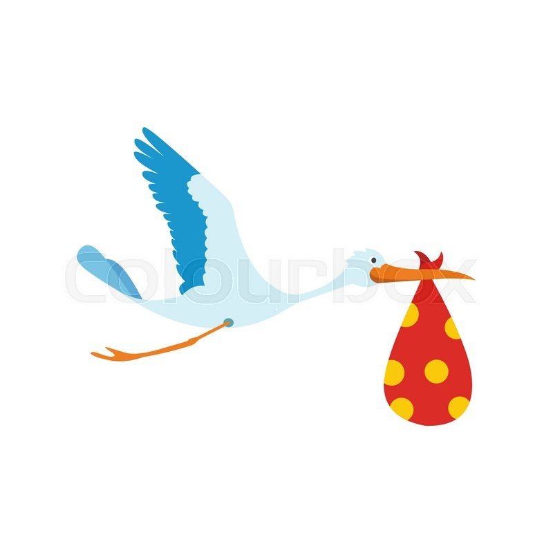 800x800 Flying Stork With A Bundle Icon In Flat Style Isolated On White