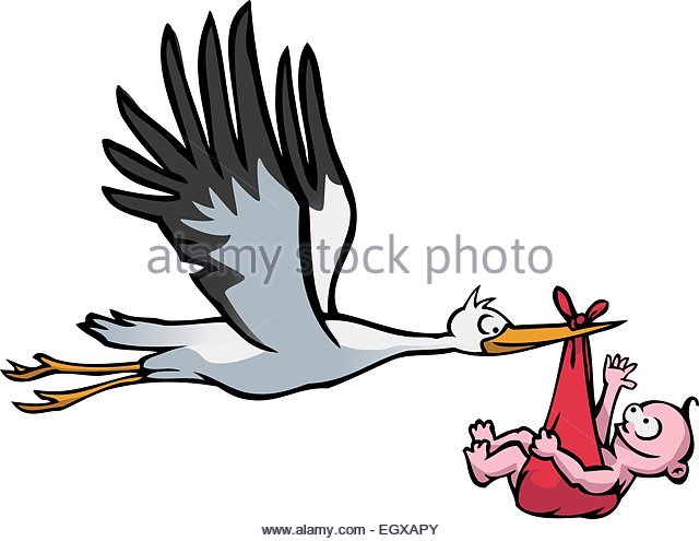 640x495 Stork And Baby Cut Out Stock Images Amp Pictures