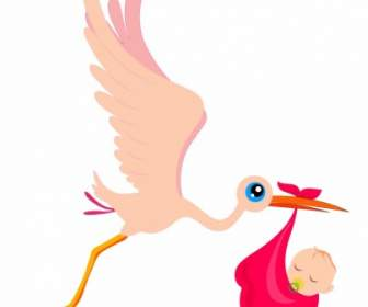 336x280 Stork Carrying A Baby Vector Vector Animal Free Vector Free Download