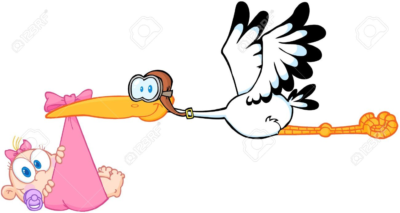 1300x695 Stork Delivering A Newborn Baby Girl Royalty Free Cliparts