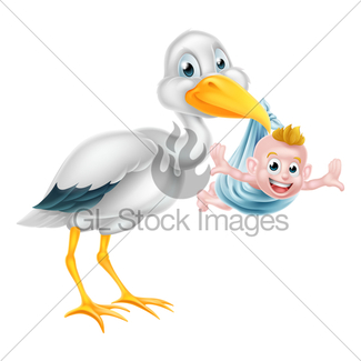 325x325 Stork Delivering A Newborn Baby Gl Stock Images