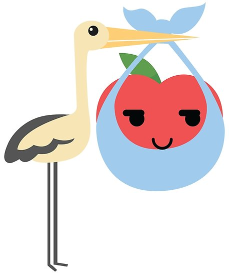 458x550 Stork With Baby Apple Emoji Sneaky And Up To Something Posters By