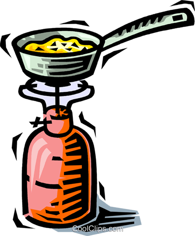 397x480 Camping Stove And Frying Royalty Free Vector Clip Art Illustration