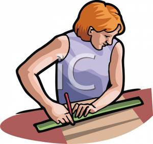 300x282 Woman Using A Ruler To Make A Straight Line Clipart Image