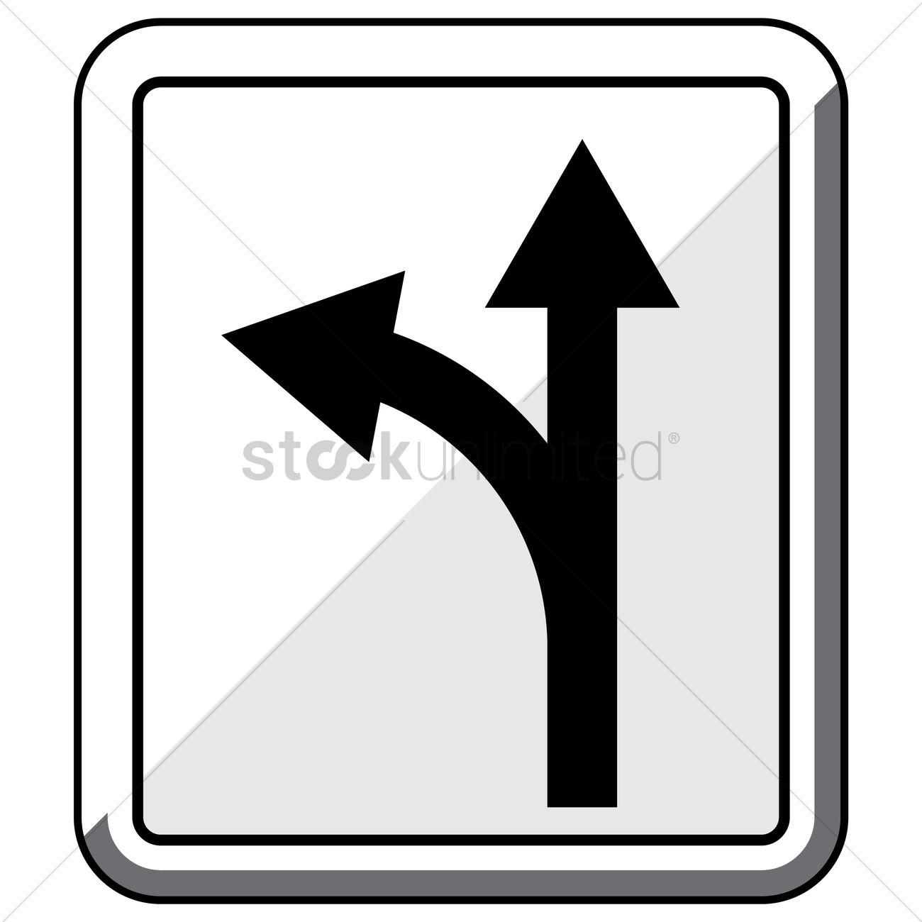 1300x1300 Turn Left Or Go Straight Road Sign Vector Image