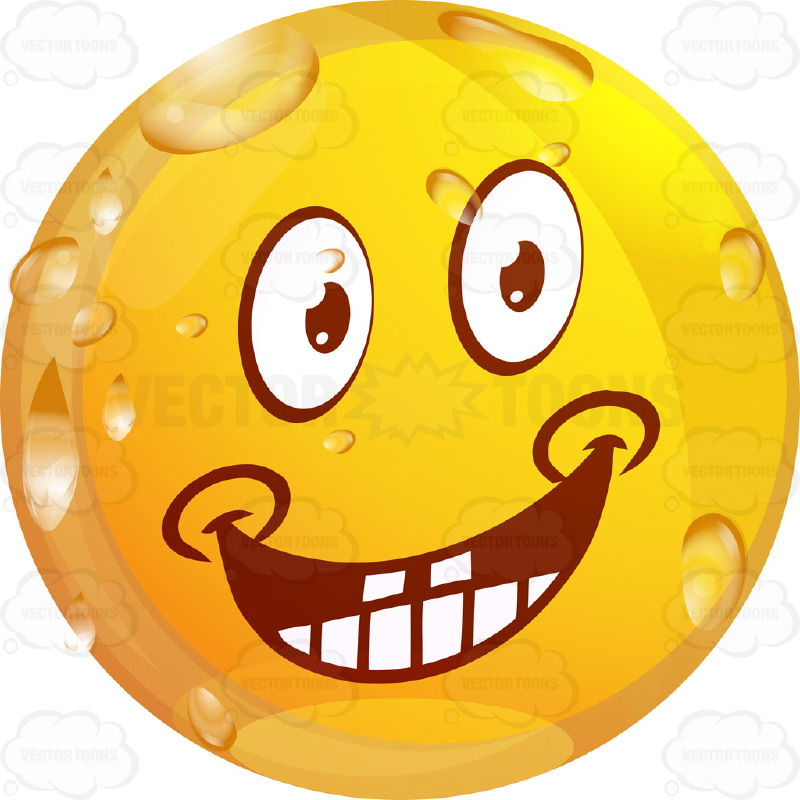 800x800 Happy Wet Yellow Smiley Face Emoticon With Wide Grin, Teeth