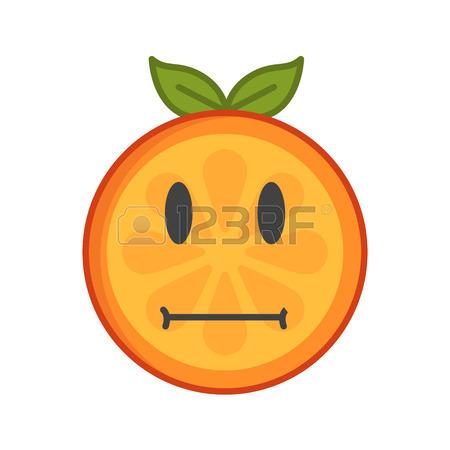 450x450 No Words Straight Face Emoji. No Words Feeling Orange Fruit Emoji