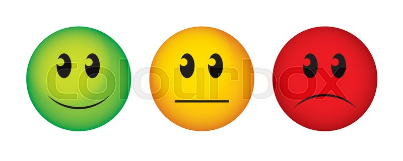 800x320 Buttons To Vote On Survey. Happy, Straight Face And Sad Emoticon