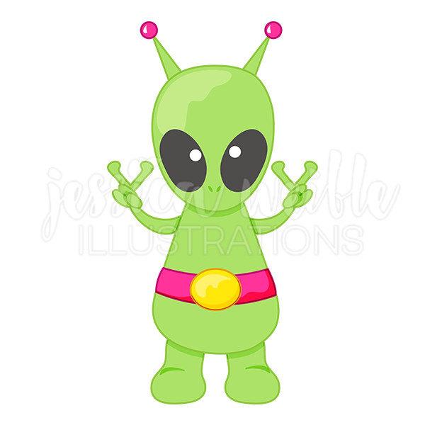 600x600 Peace Alien Cute Digital Clipart, Cute Alien Clip Art, Peace
