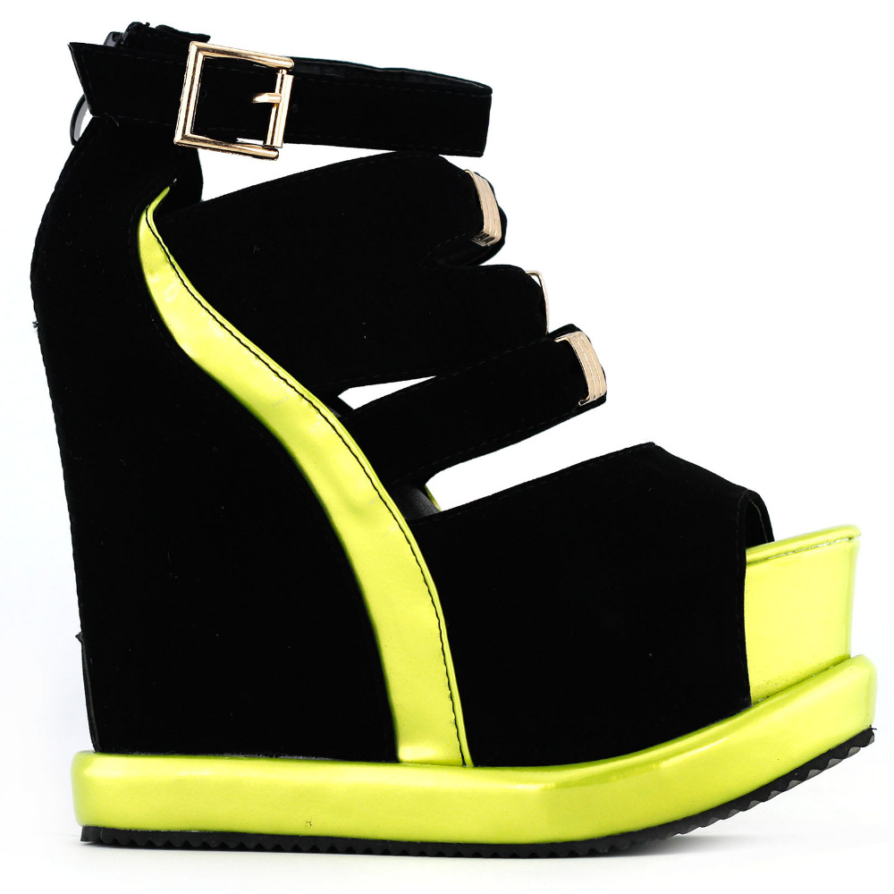 1000x1000 Lf38823 Sexy Black White Peep Toe Buckle Strappy Wedge Platform