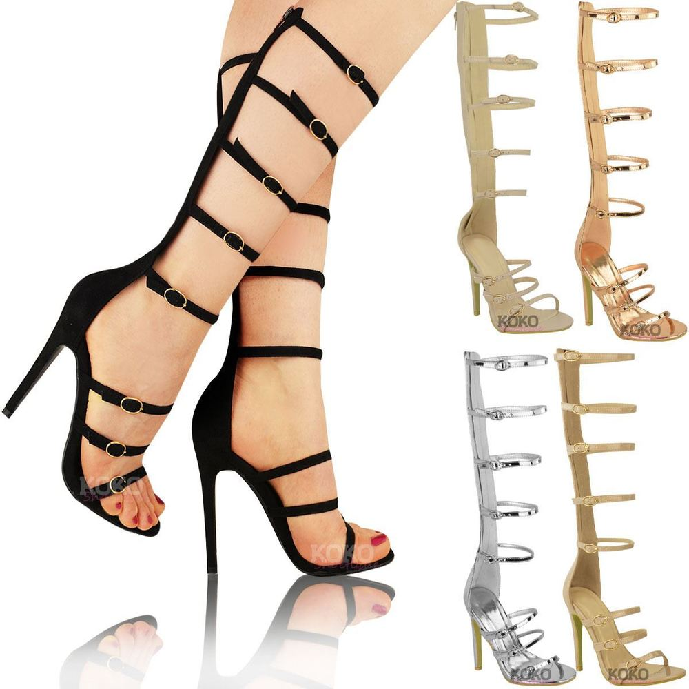 f27d9a622 1000x1000 New Womens Ladies Knee High Heel Gladiator Sandals Strappy Celeb
