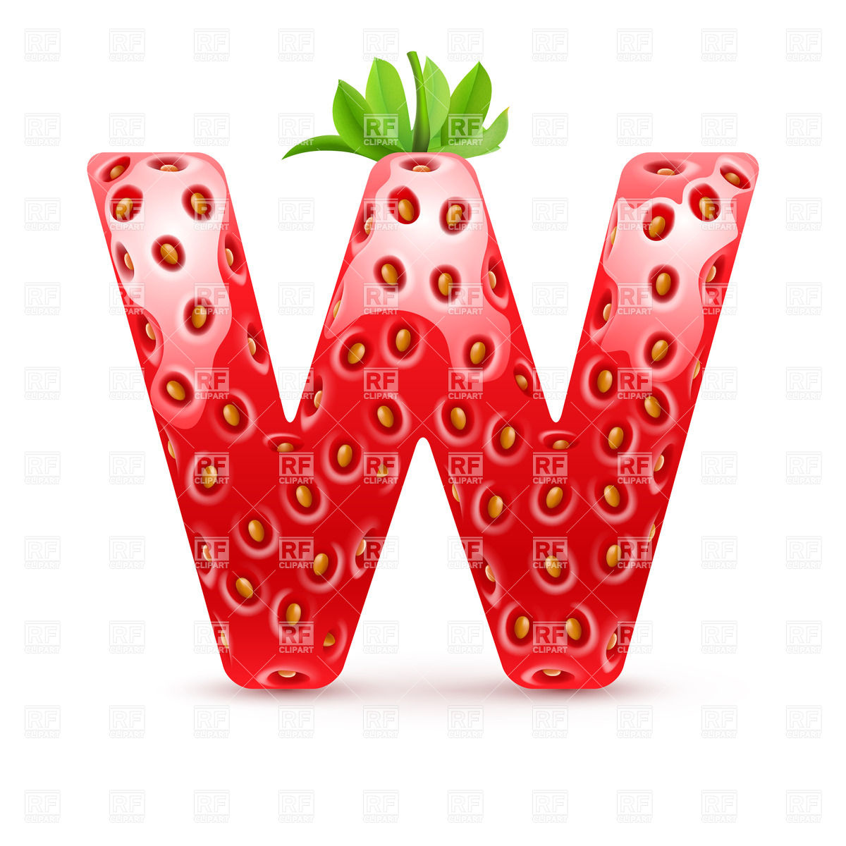 1200x1200 Strawberry Style Font, Letter W Royalty Free Vector Clip Art Image