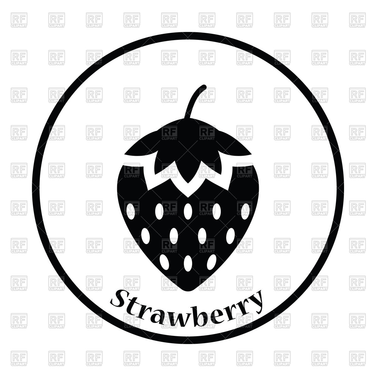 1200x1200 Thin Circle Design Icon Of Strawberry Royalty Free Vector Clip Art