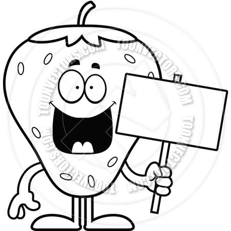 460x460 Cartoon Strawberry Sign (Black And White Line Art) By Cory Thoman