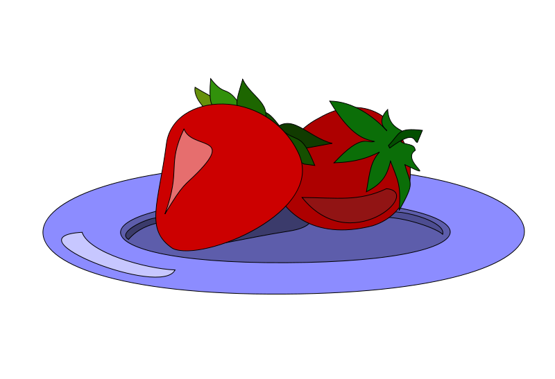 800x547 Free Two Strawberries On A Plate Clip Art
