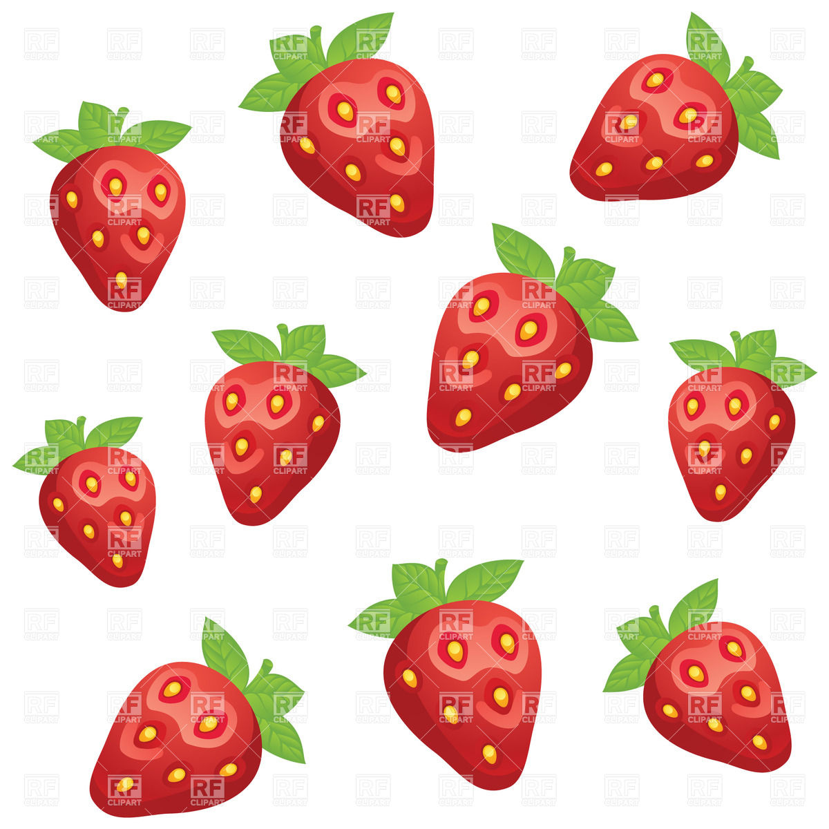 1200x1200 Simplistic Pattern With Strawberry Royalty Free Vector Clip Art