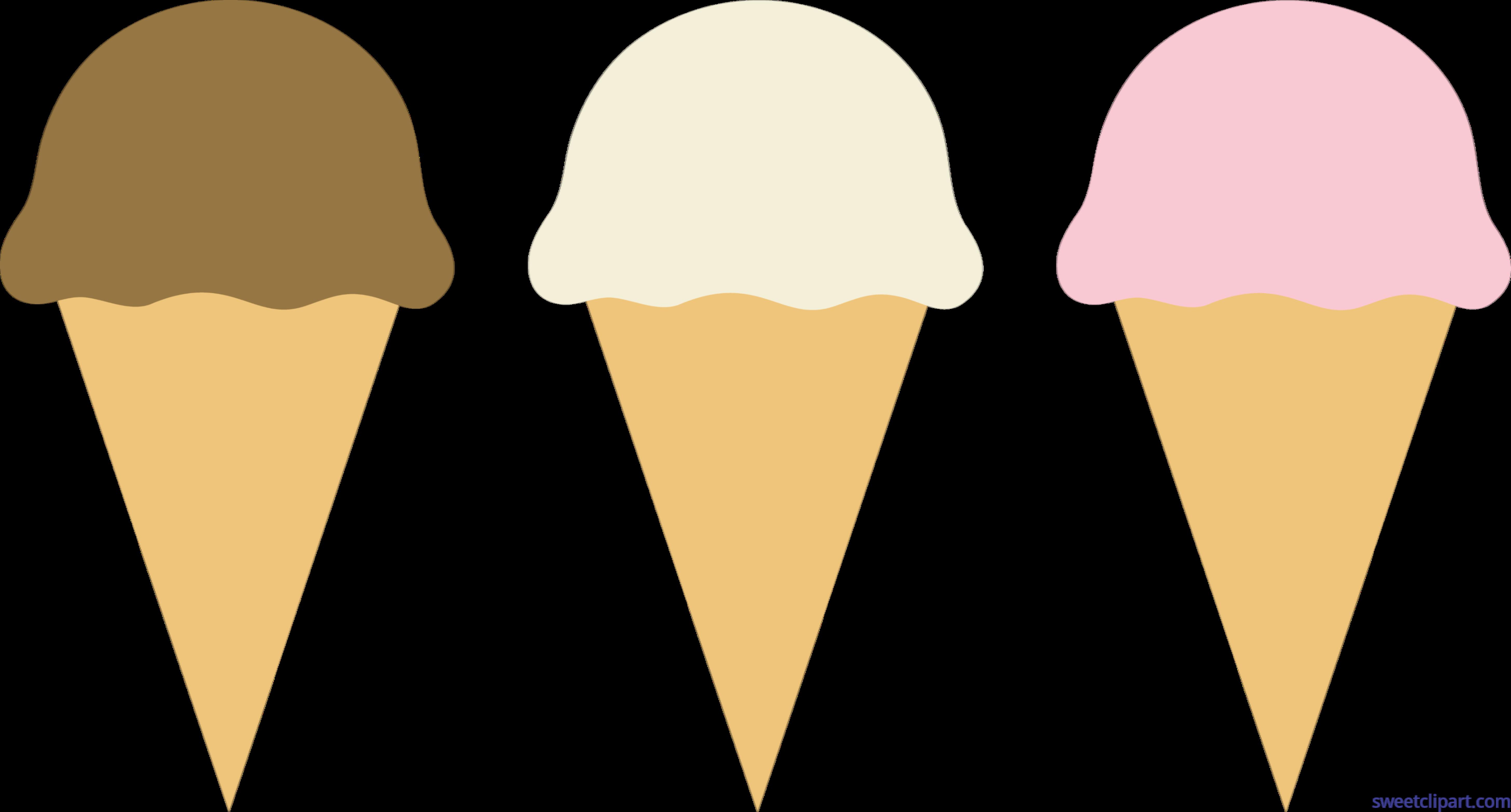 5823x3130 Ice Cream Cones Chocolate Vanilla Strawberry Clip Art