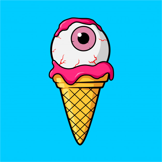 626x626 Ice Cream Cone With Pink Eye Ball And Strawberry Juice Cream