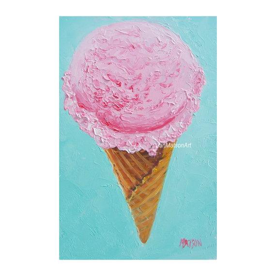 570x570 Strawberry Ice Cream Cone, Kitchen Art, Home Decor, Country Living