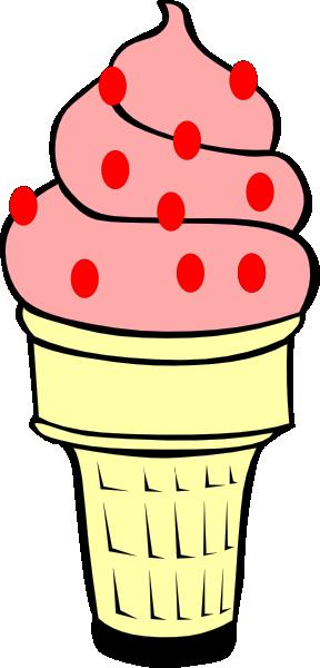 288x600 Strawberry Ice Cream Cone Clip Art