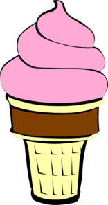 156x296 Strawberry Ice Cream With Chocolate Cone Clip Art