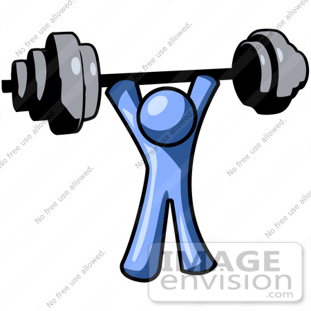 450x450 Clip Art Graphic Of A Blue Guy Character Holding A Heavy Barbell