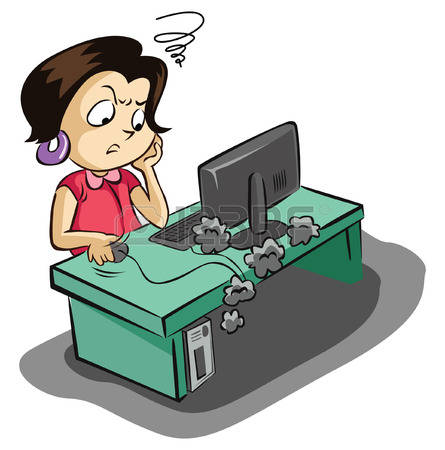 445x450 Desk Clipart Stressed Woman