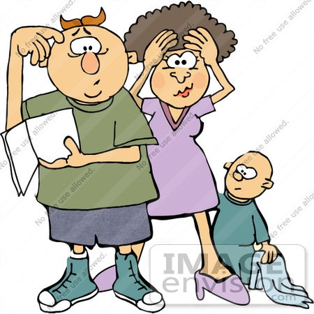 450x450 New Parents Stressing Out, Baby Behind Them Clipart