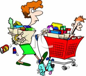300x267 Cartoon Clipart Picture Of A Stressed Out Mom Grocery Shopping