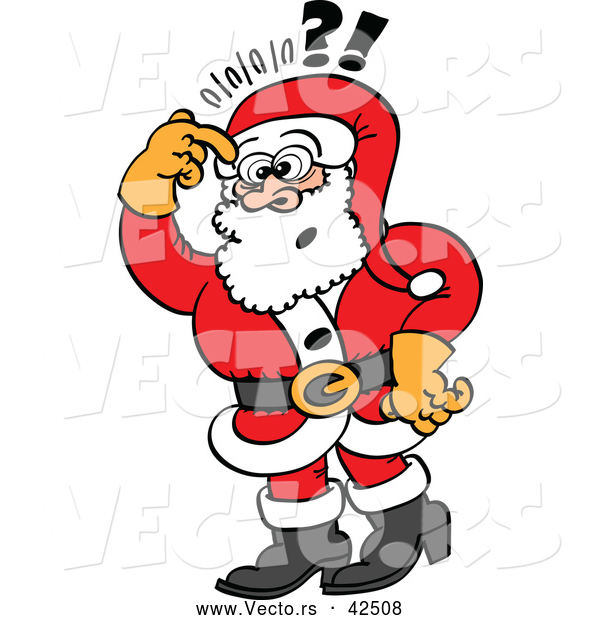 600x620 Vector Of A Stressed Cartoon Santa Thinking While Scratching His