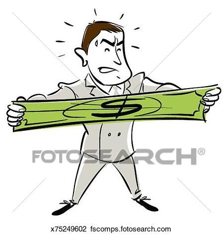 449x470 Clip Art Of Man Stretching Dollar Bill, Sweating X75249602