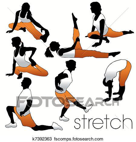 450x470 Clipart Of Stretch Aerobics Silhouettes Set K7392363