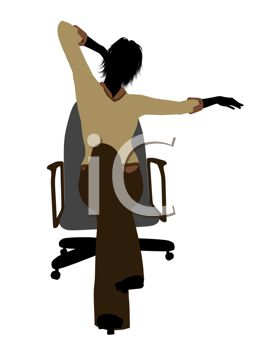 263x350 Silhouette Of A Woman Stretching In A Desk Chair