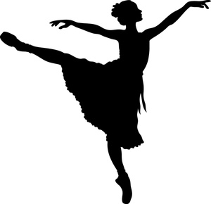 300x290 Ballerina Clipart Image A Silhouetted Ballerina Stretching Her