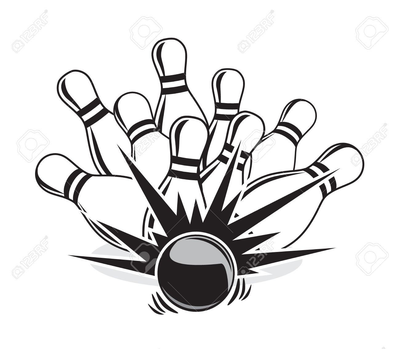1300x1133 Illustration Of A Strike At A Bowling Game Royalty Free Cliparts