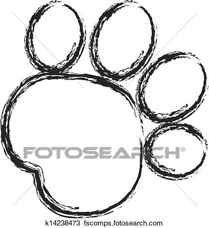 431x470 Clipart Of Black Paw Print Stroke Paint Logo K14238473