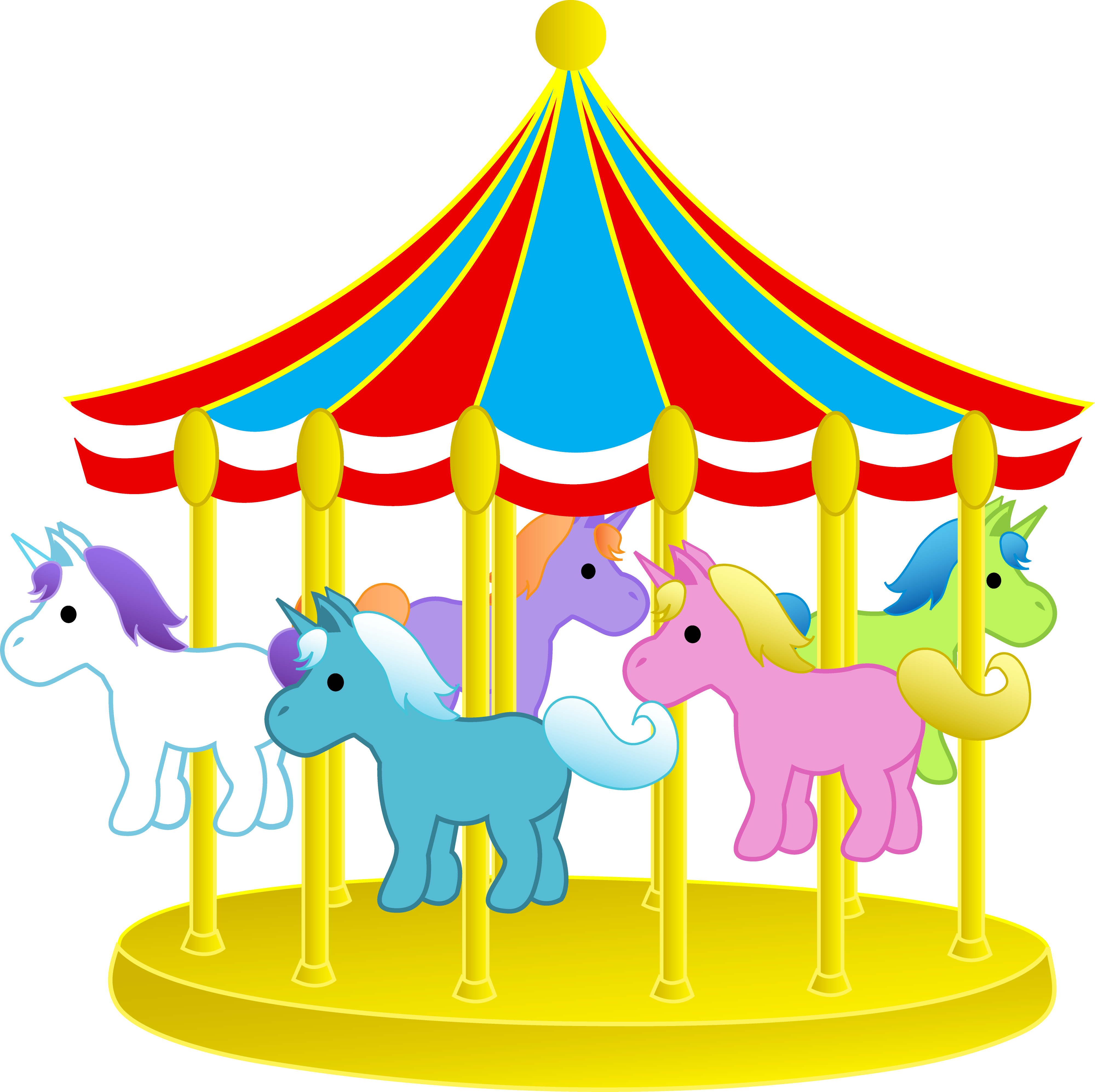 3999x3987 Cute Carnival Carousel With Ponies