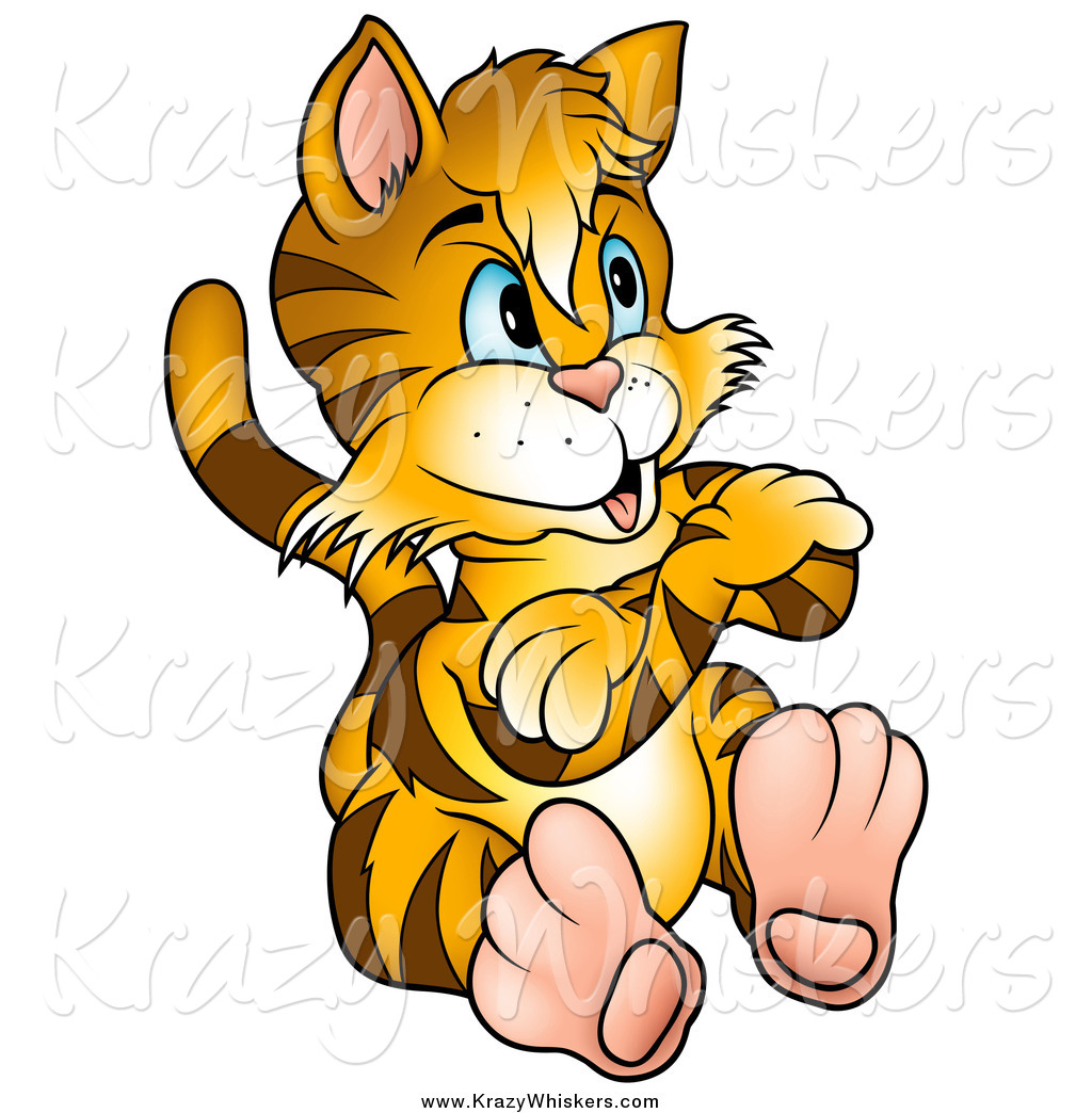 1024x1044 Critter Clipart Of A Stubborn Tiger Striped Kitty Cat Sitting