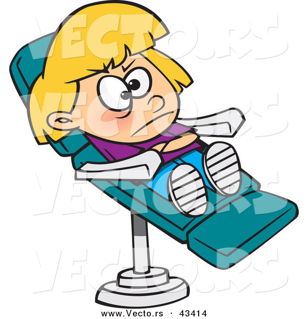 600x620 Vector Of A Stubborn Cartoon Girl Sitting In A Dentist Chair By