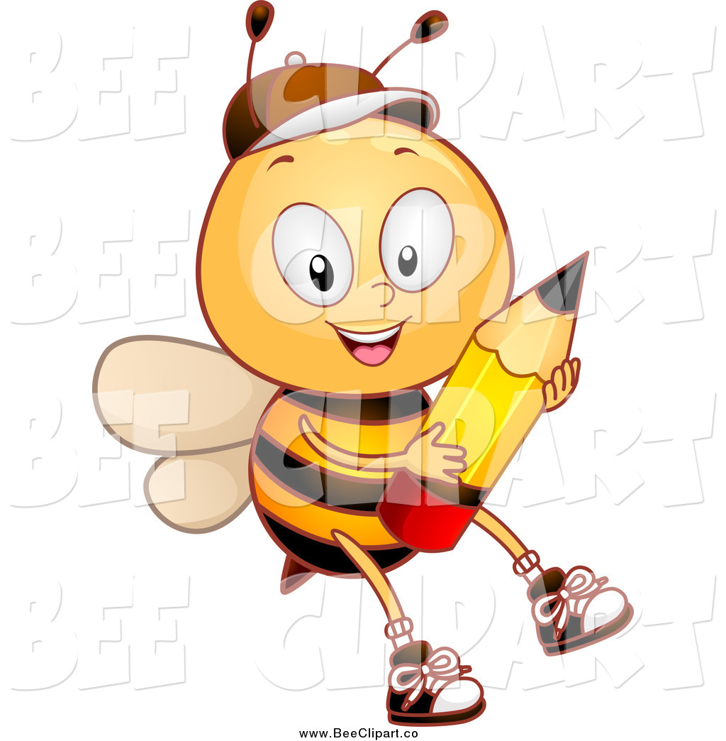 1024x1044 Cartoon Vector Clip Art Of A Bee Student Boy Holding A Pencil By