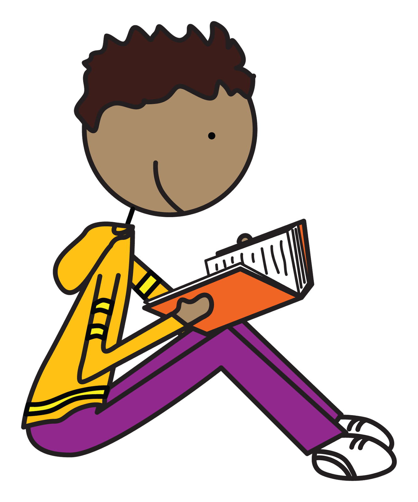 1332x1600 African Boy Student Reading Clipart