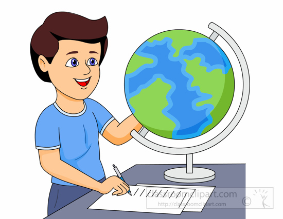 550x427 Geography Clipart Student Using A Globe To Study Geography