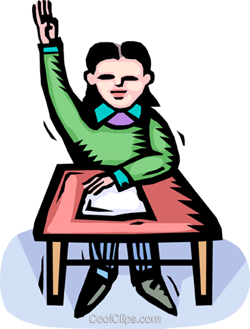 366x480 student raising his hand Royalty Free Vector Clip Art illustration