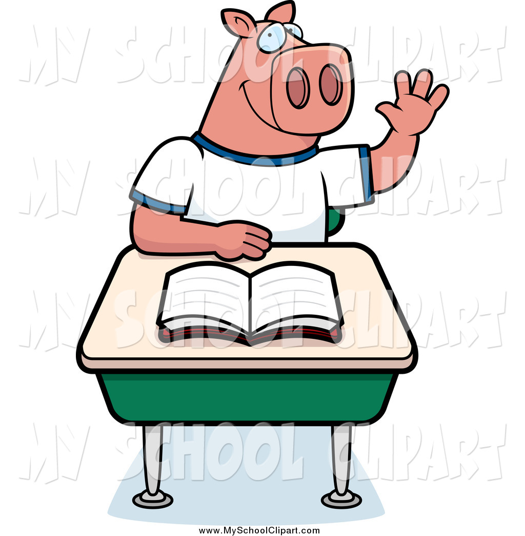 1024x1044 Clip Art of a Smart Male Pig Student Raising His Hand in Class by