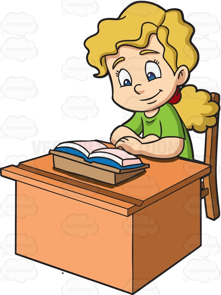 768x1024 Student Reading At Desk Clipart