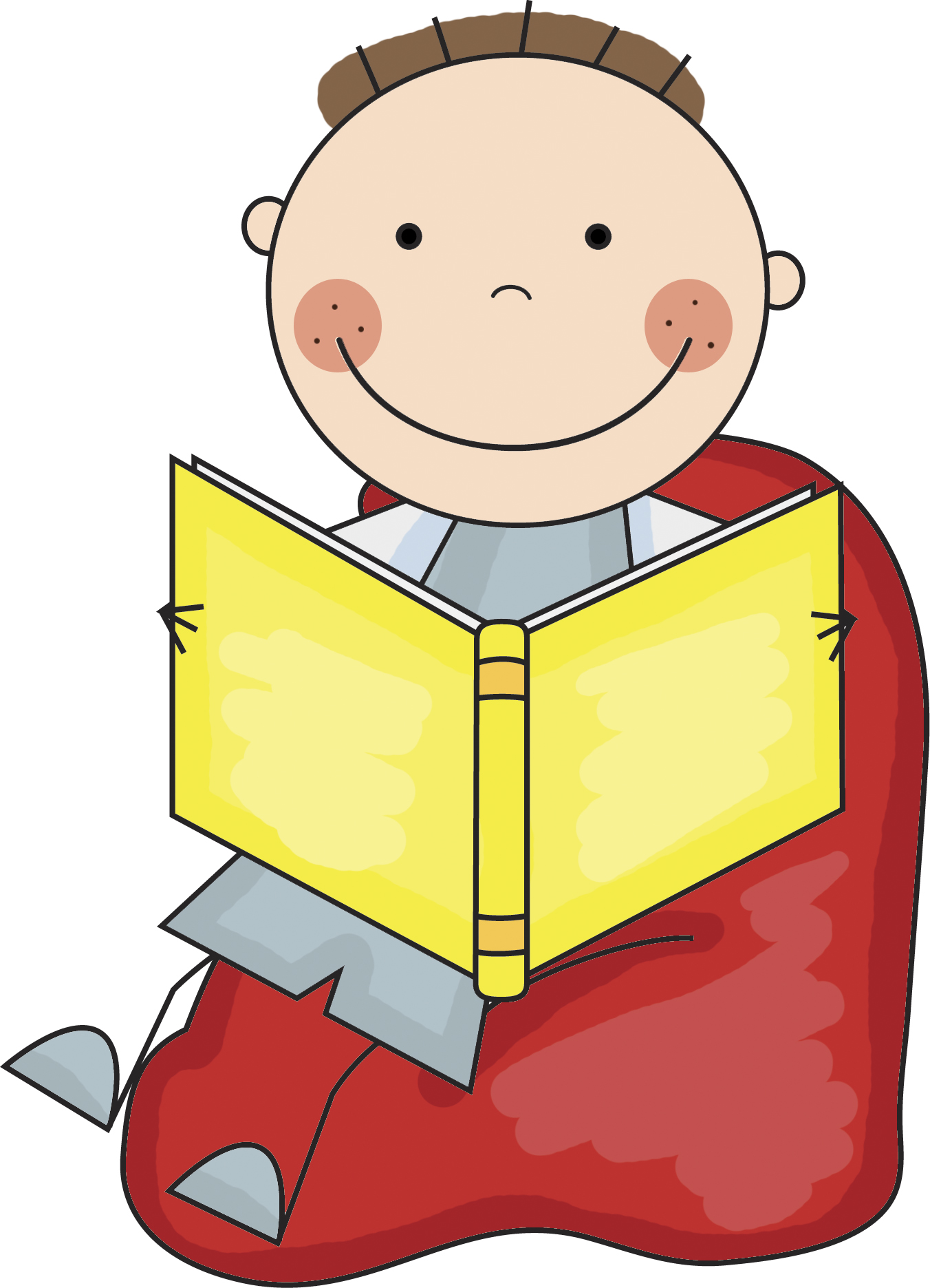 1352x1871 Student Reading Clipart