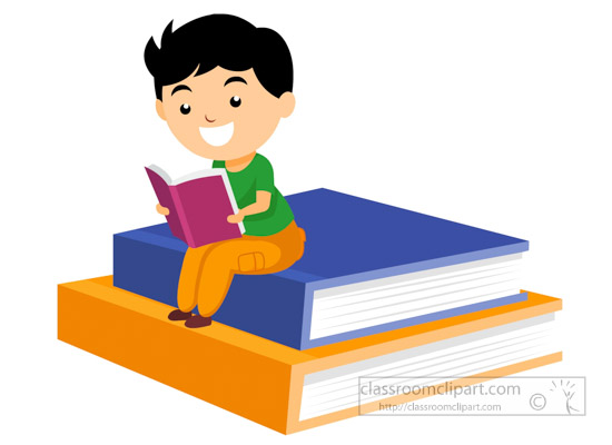 550x400 Reading Clipart student reading book sitting on big books clipart