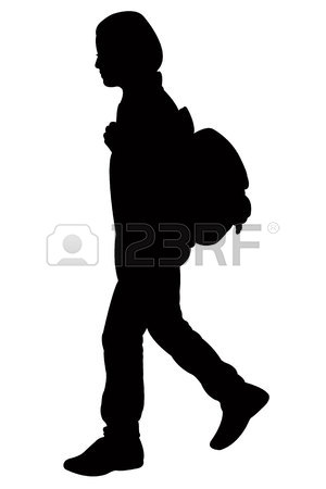 300x450 A School Girl Running, Silhouette Royalty Free Cliparts, Vectors