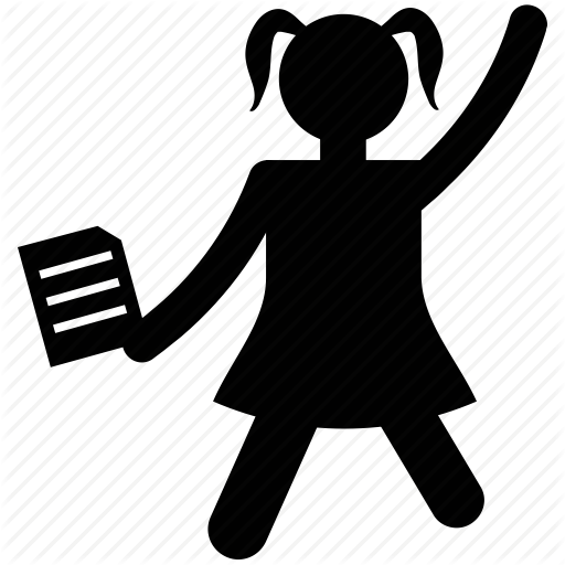 512x512 Avatar, Girl Cheering, Happy Girl, Happy Student, Silhouette Icon