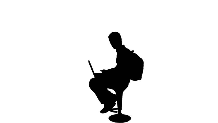 852x480 Student Reading Laptop Silhouette